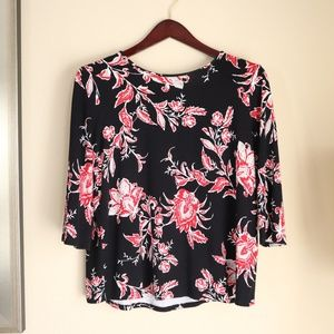 J. Jill Artsy Red Floral Contrast Blouse SM